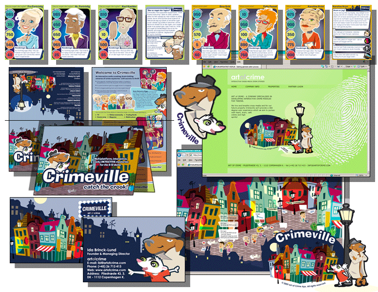 CRIMEVILLE - Børne community - layout af tradingcards, comicstrip, magasin mv for Art of Crime